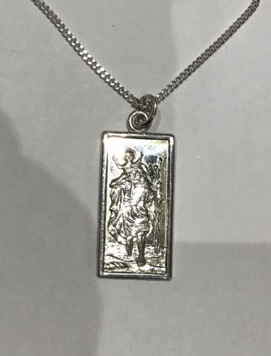 Sterling Silver St. Rectangular Christopher Including Chain BU8076
